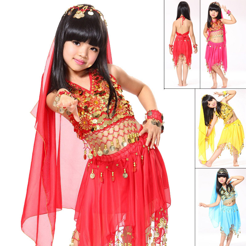 a26d2045cd95 Get Quotations · 2015 Belly Dance Costumes For Kids 5 Pcs  Top&Skirt&2*Handwear&Headwear Child Indian Clothes Fashion Girl