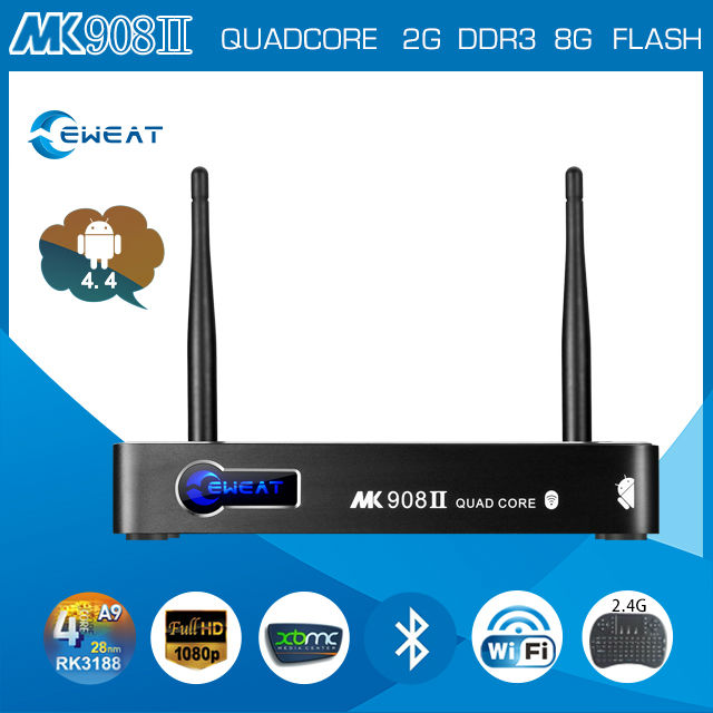 RK3188 eweat MK908 II Miracast+Dlna+Airplay rk3188 quad core 2g ram 8g rom google cable tv set top box
