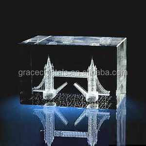 Fashion office souvenir gifts clear crystal 3d block paperweight