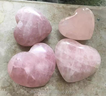 natural rose crystal polished heart shaped rocks for decor