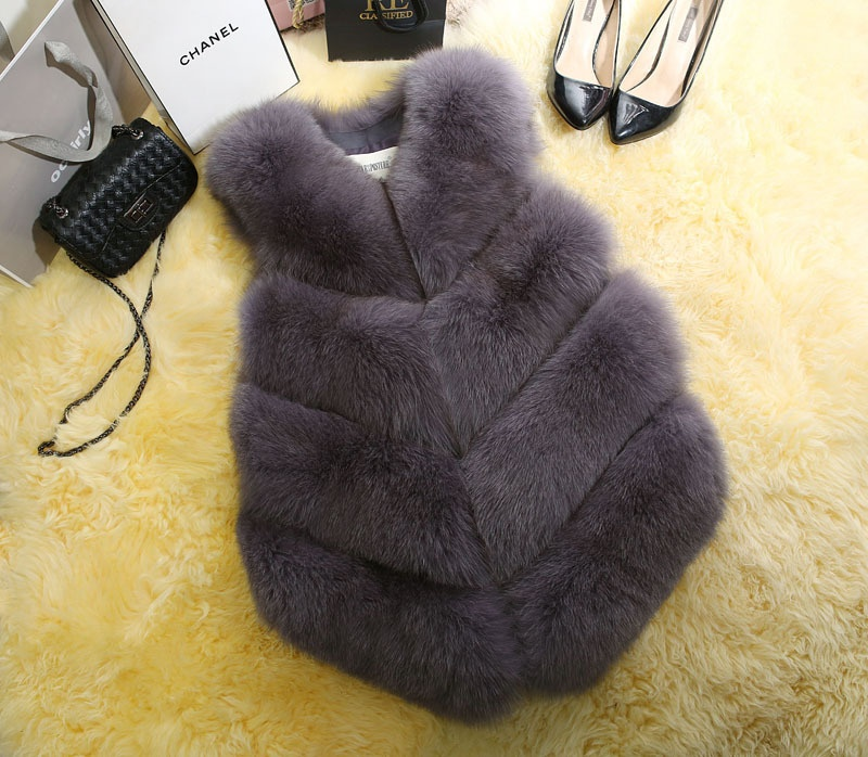 Alibaba.com / Wholdsaler Fake Fox Fur Vest & Gilet For Lady Women Faux Fur Waistcoat Girl Pink Black XXXL