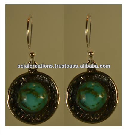 Silver with Turqoise Earrings, Tibetan Turquoise Jewellery, Genuine Turquoise Jewellery K1292