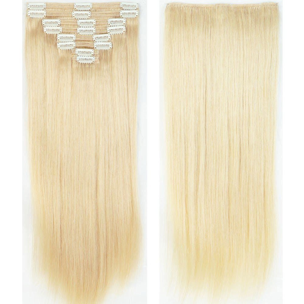 "14"" 16"" 18"" 20"" 22"" inch Clip in 100% Remy Human Hair Extensions Real Double Weft Full Head 8 Pieces 18 Clips Long Straight for Women"