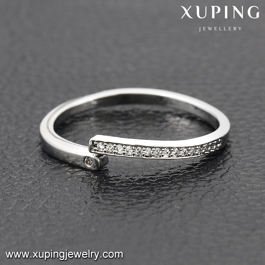 13928 Xuping copper love knuckle ring eternity stone ring, withe ring vintage valentine lovers gifts