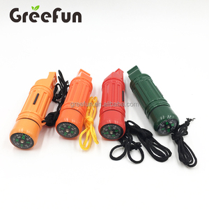 Survival Kit 1 Pcs Emergency Whistle 5-in-1Whistle Plastic Compass Flint Capsule Mirror