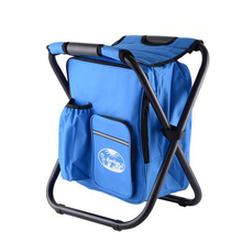 Polyester Outdoor cooler bag chair lightweight insulated backpack with folding chair