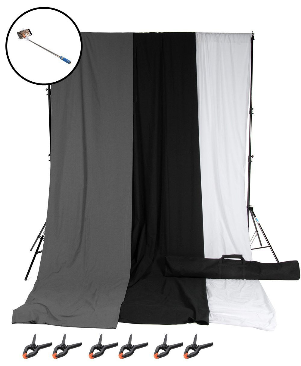 GTAPHOTOSTUDIO 8x10(feet) Photo Video Backdrop Stand + 3pc 6x9(feet) Backdrop Set (White, Grey, Black) w/ 6pc Clamps