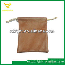 Top leather jewelry pouch,drawstring leather jewelry bag