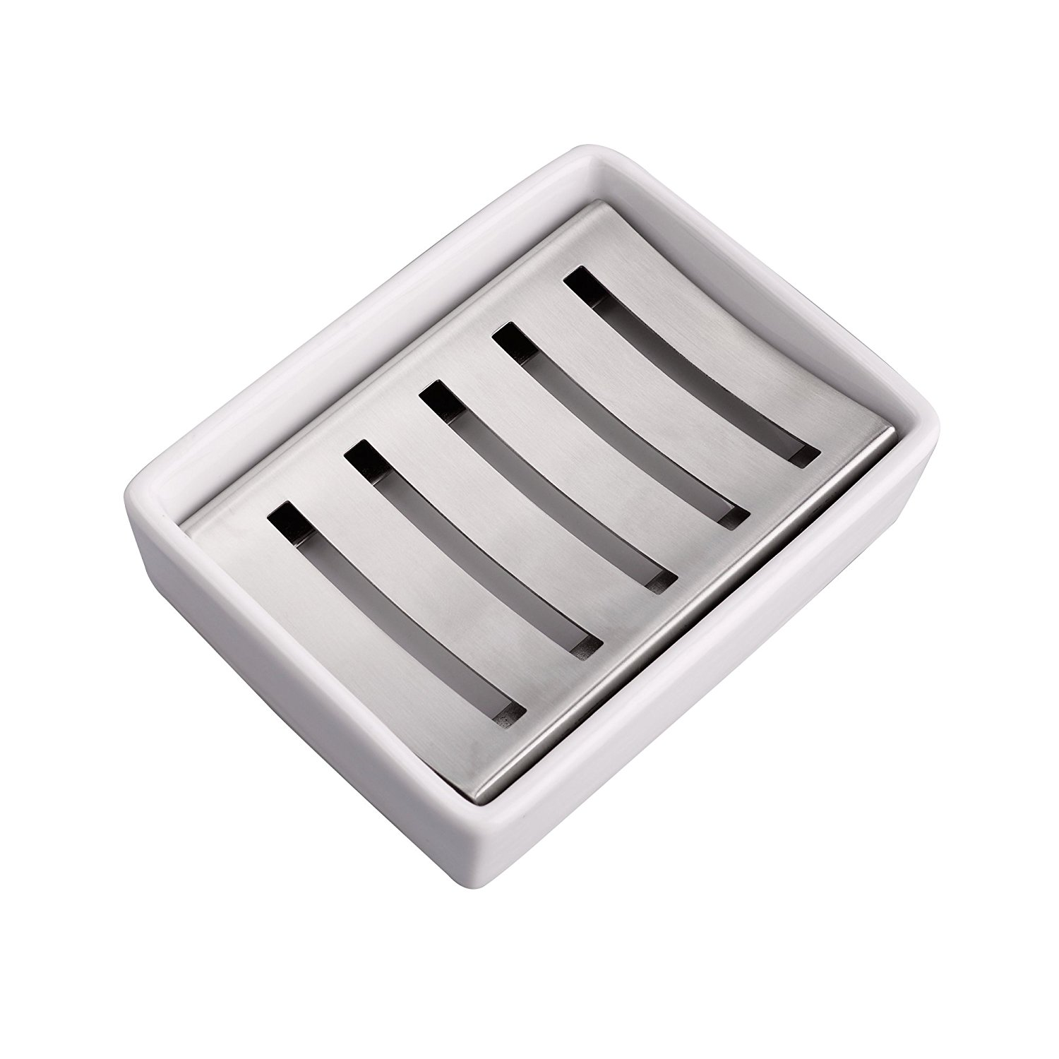 IMEEA Soap Dish Holder Ceramic Seat SUS304 Stainless Steel, Upgraded