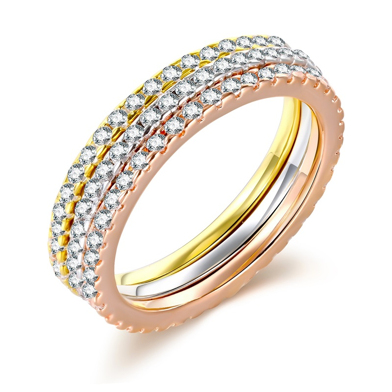 Simplicity style three-tone mix colors rose gold&white gold&gold cubic zirconia 1mm brass band women stackable wedding ring set