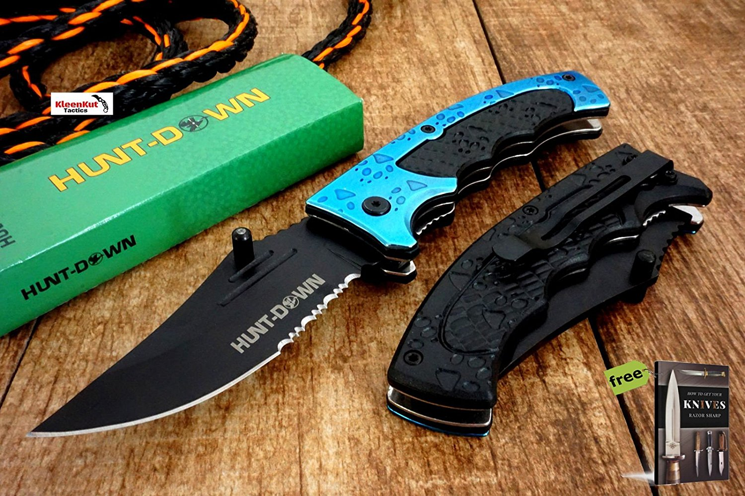 """8"""" Hunt-Down Blue Tiger Claw Spring Assisted Open Tactical Pocket Folding Knife + Free eBook by SURVIVAL STEEL"""