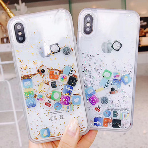 Moveable IOS Phone Case App Icon Glitter Case Quicksand Liquid Back Cover For Samsung J4 plus