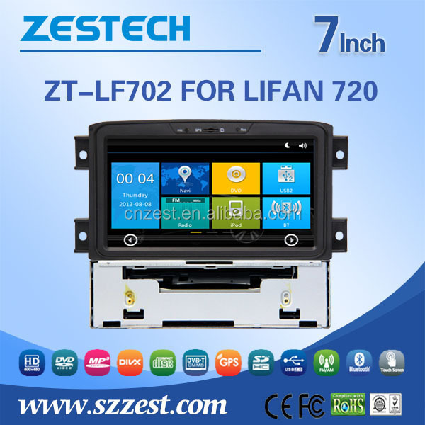 For lifan 720 car accessores gps dvd player support TMC DVR SWC 3G Wifi Phong Book MP3 / 4 function
