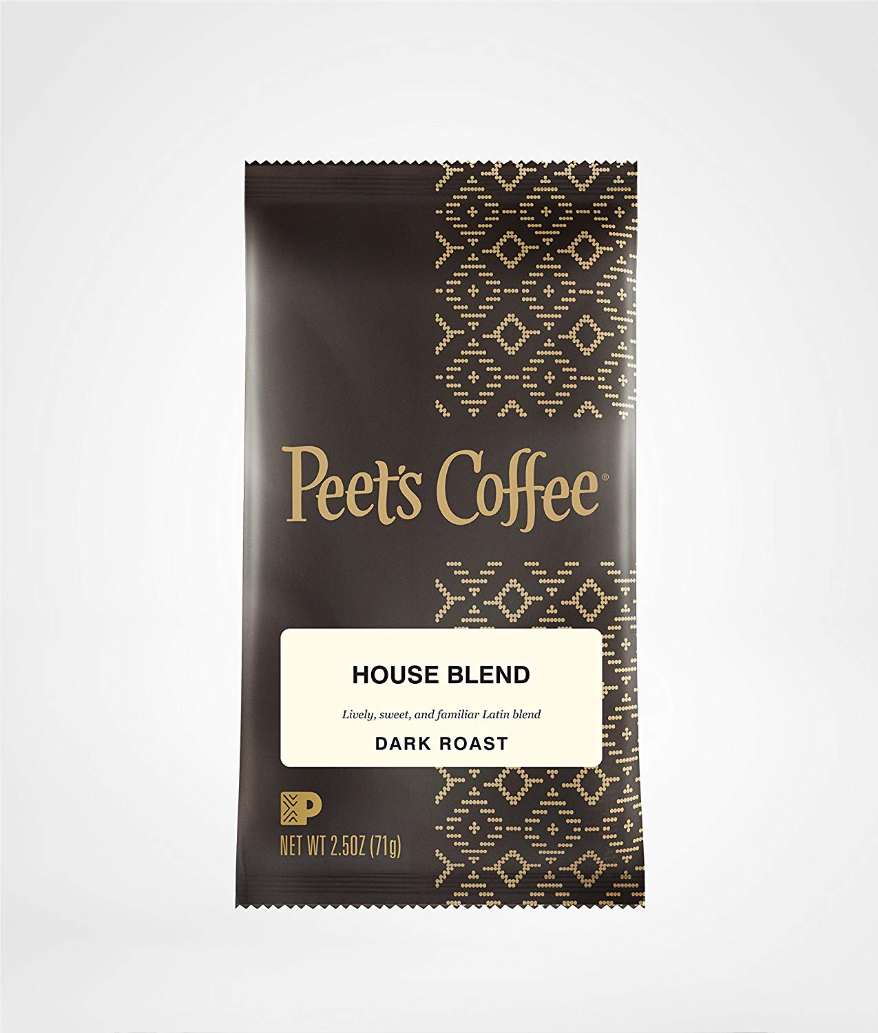 Peet's Coffee, House Blend, Ground Coffee, Dark Roast, 2.5 oz. Fractional Packs (Pack of 18), Bright, Lively, and Balanced Dark Roast Blend of Latin American Coffees, Deep Roasted