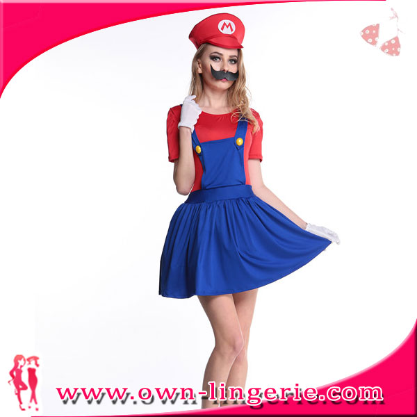 Mario Lady Pretty Plumber Adult Costume Red