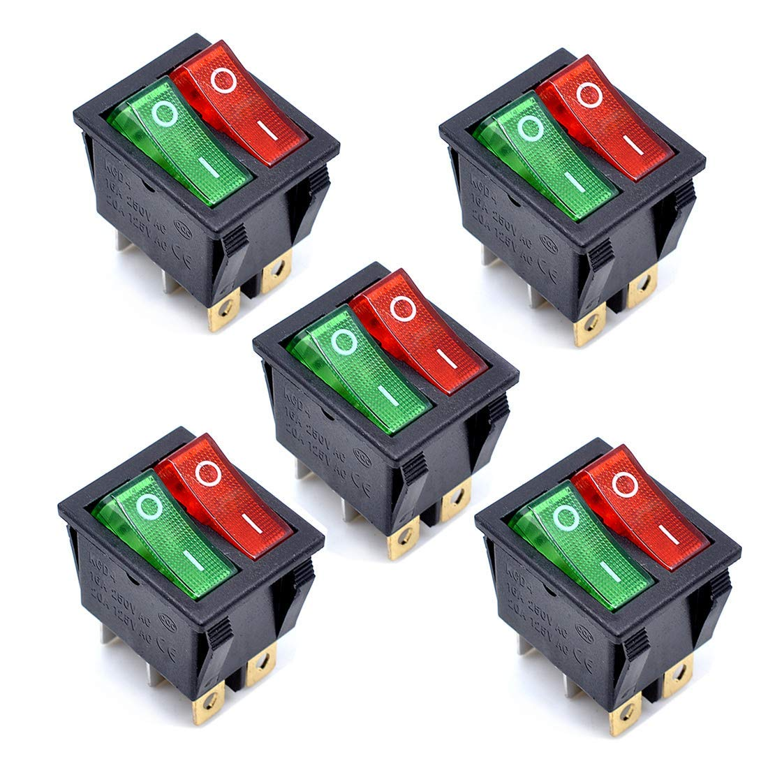 Cheap 16a 250v Rocker Switch Find Deals On Red Dpdt Double Pole Throw With Light Get Quotations Willwin 5pcs Kcd4 Ac Green 6p Terminals Off Spst