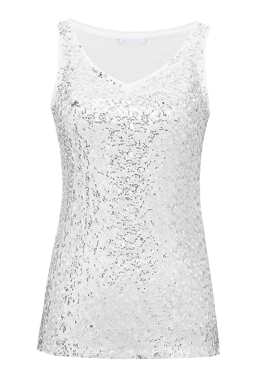 8e0d558a Get Quotations · Metme Sleeveless Shirt V Neck Sequin Embellished  Close-Fitting Tank Tops Vest Tops For Women