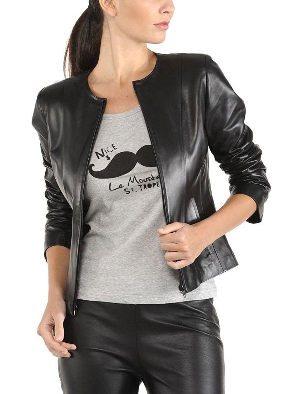 Prim leather Women's Lambskin Leather Bomber Biker Jacket