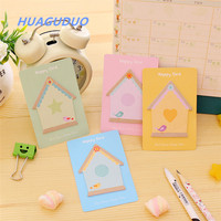 guangzhou stationery market Top quality Cute house color shaped custom sticky notes school students sticky note book