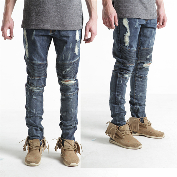 Biker ripped denim dark blue biker jeans destoryed moto jeans for mans (LOTM280)