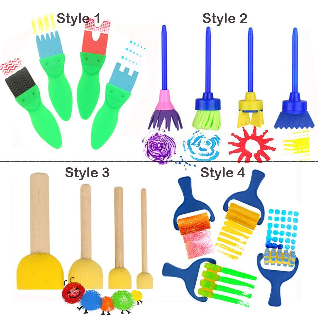 16 PCS - Paint Brushes for Kids, Artist Paint Texture Brushes - Early Learning Graffiti Paint Brush EVA Sponges Foam Painting Tools Set for Kids Painting Drawing Crafts and DIY