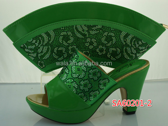 High african 2 green bag shoes heeled set purse sandals and women for SA60201 Sfgwq1x