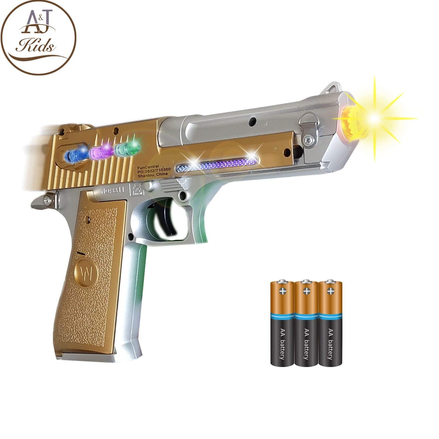 ANJ Kids Toys - Pretend Play Toy Gun for Boys | Toy Pistol Gun with Flashing Lights and Sound | Detailed Craft with Rapid Firing and Vibrating (Age 3+, Batteries Included)