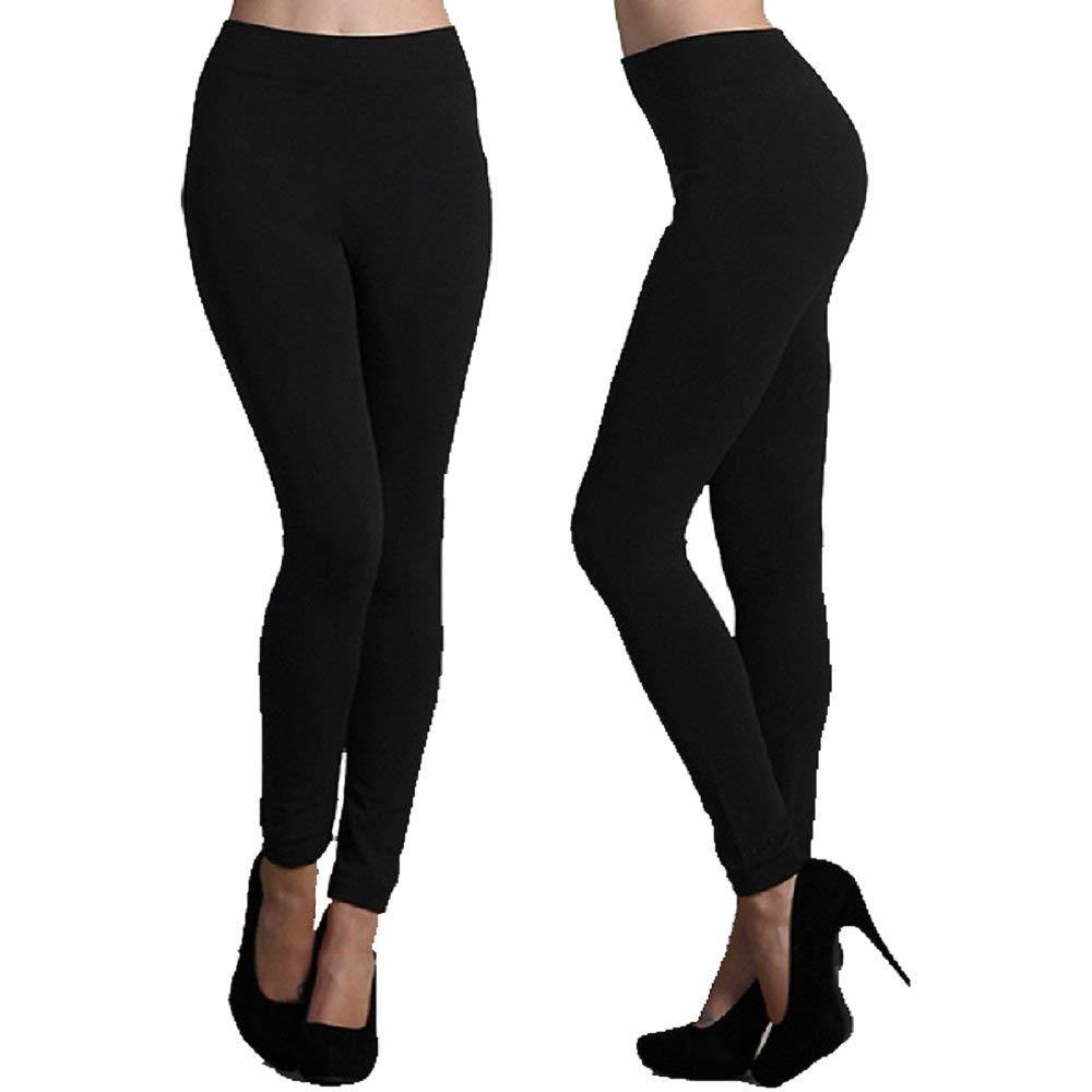 3d630717397da Get Quotations · American Leggings Seamless Full Length Fleece Leggings  Midnight Black One Size (Single Pack)