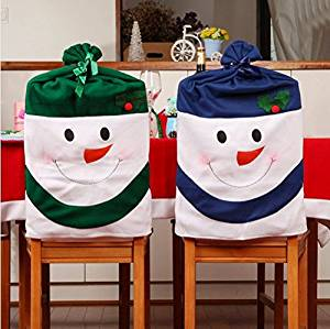 Get Quotations 4pcs Lot Soft Cloth Blue And Green Christmas Snowman Candy Bags Chair Covers With Flannel