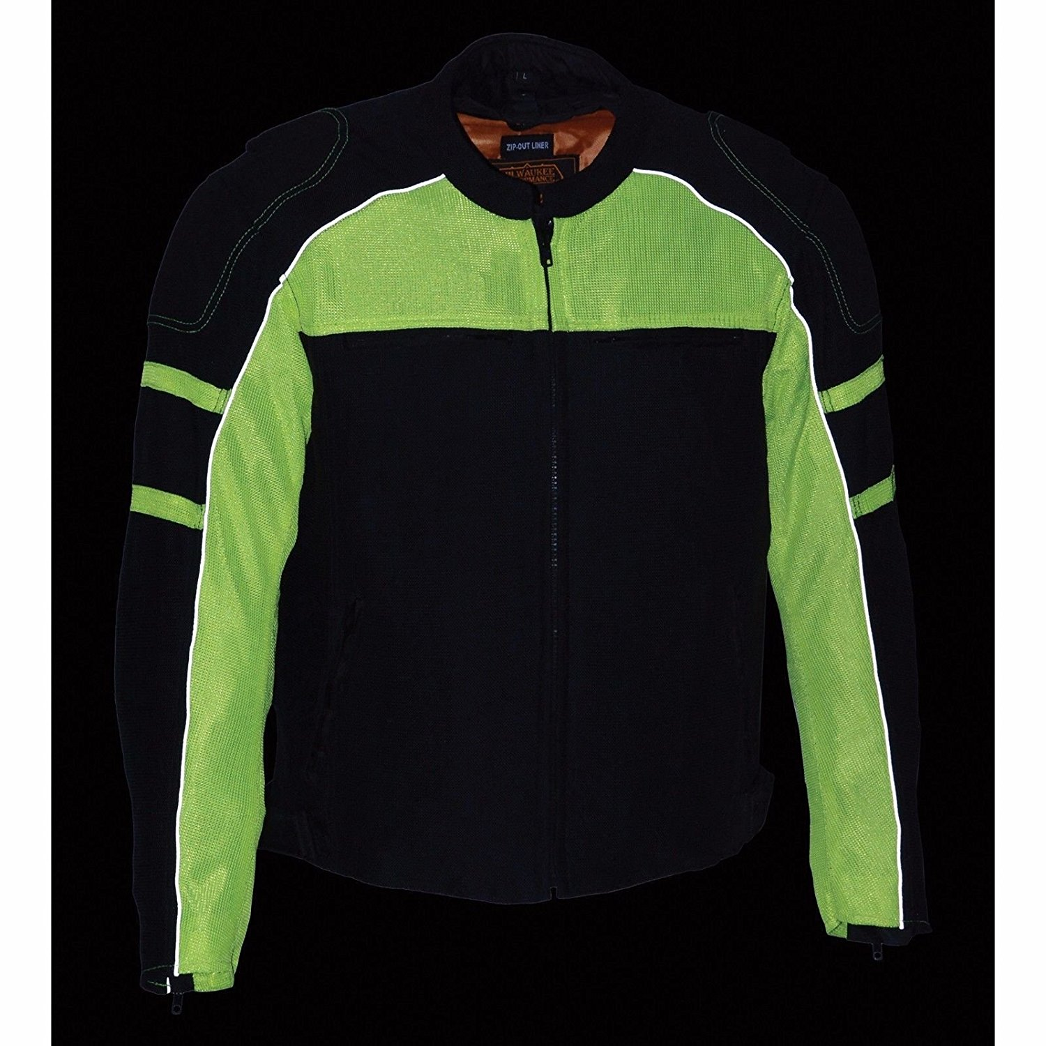 Mens Motorcycle Biker Jacket with armors & Rain jacket Liner New Mesh Blk/Green (S Regular)