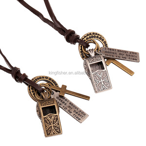 High quality genuine leather cord antique brass tone cross alloy whistle pendant necklace wholesale