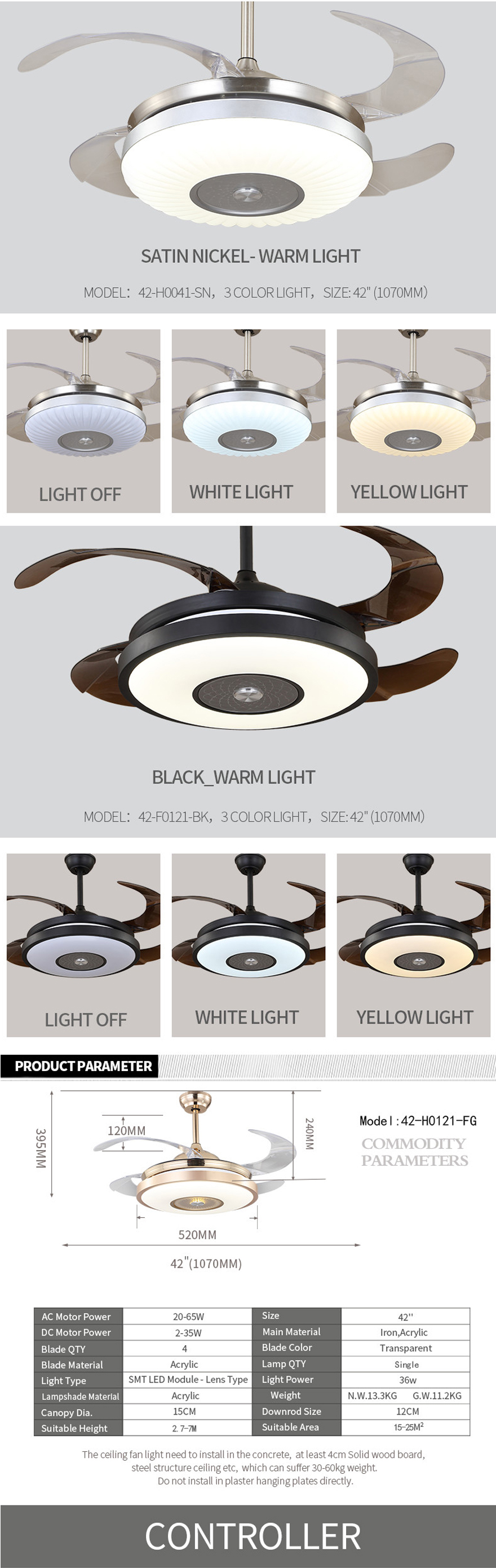 Special design modern decorative fancy ceiling fan with hidden blade