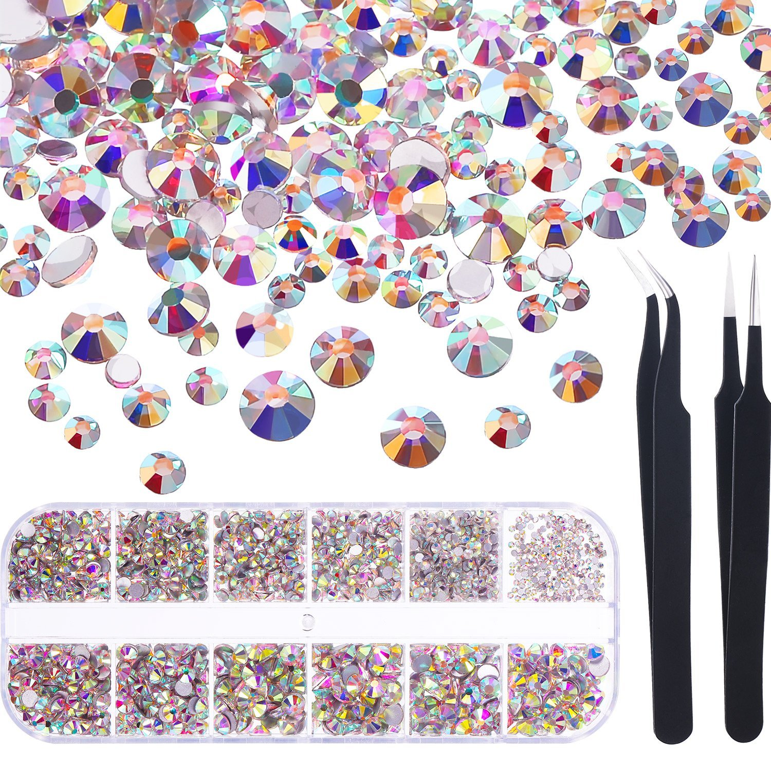 TecUnite 1728 Pieces Crystals Nail Art Rhinestones Round Beads Flatback Glass Charms Gems Stones and 2 Pieces Tweezers with Storage Organizer Box, SS3 6 10 12 16 20, 288 Pieces Each Size (Crystal AB)