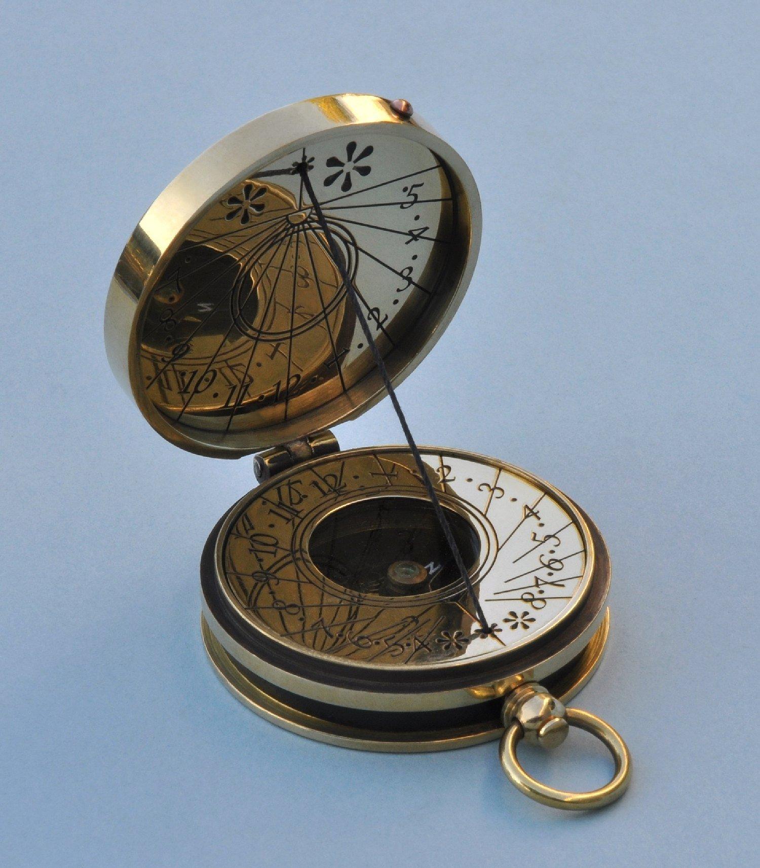 Polished Pocket Sundial Compass with Cord Gnomon