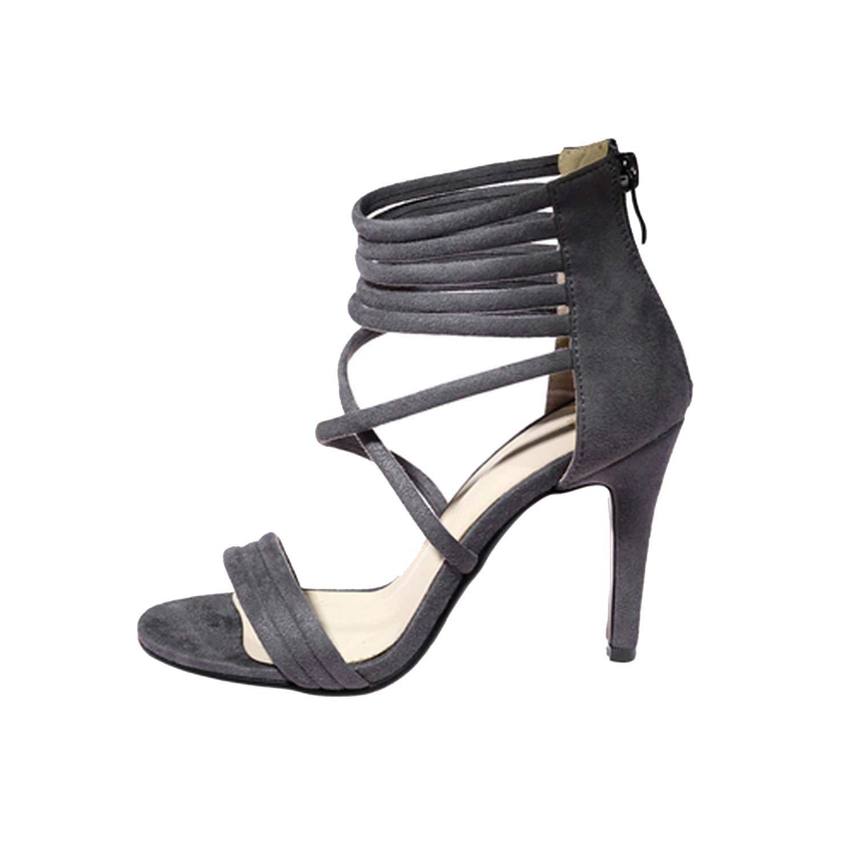 Amazing-cool heeled-sandals Women Sandals 2018 Summer Fashion Cross Strap Fretwork Sexy Women Shoes,Grey,4
