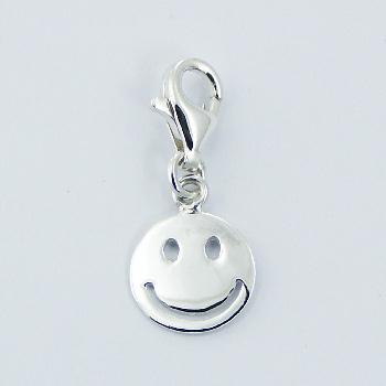 Polished Plain Sterling Silver Happy Face Charm on Lobster Clasp