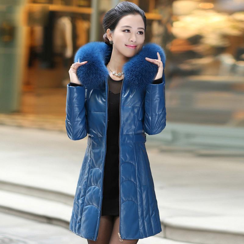 Мода женской одежды 2015 новых зимнее пальто женщин длинный участок надьямарош воротник высокое качество тонкий кожаный женский 1666 #