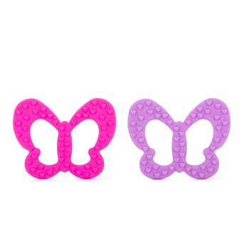 China Manufacturer BPA Free Food Grade Soft butterfly Teether Silicone Baby Teether Chew Beads for Baby