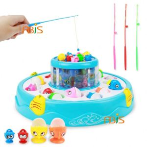 Double deck Diaoyutai children's fishing toys Electric magnetic, large light, musical fishing toys