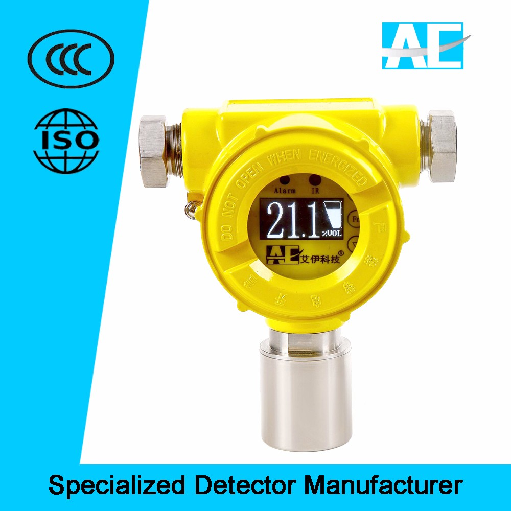 Diffusion type fixed gas leak detector with OLED display