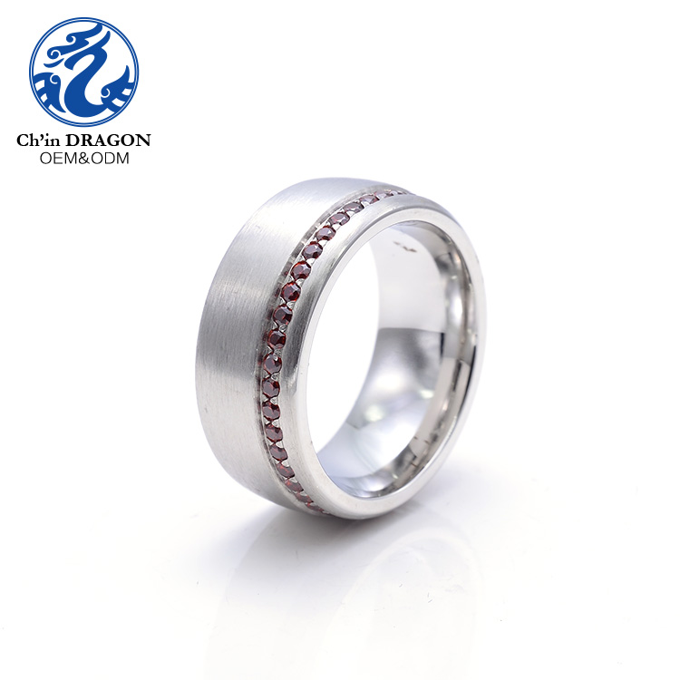 Factory sale stainless steel ring ruby jewelry artificial ruby ring men