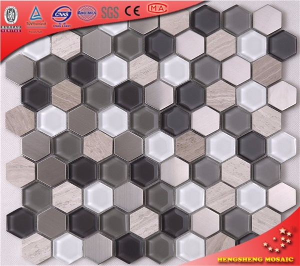 HSL36 Hexagon Glass Stone Mosaic Tile With High Quality