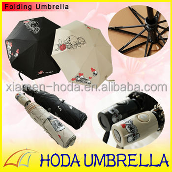 Beautiful rose fabric 3-fold umbrella /21''*8k sexy skull protect uv sun umbrella
