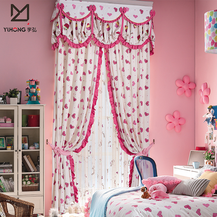 Hot Selling Heart-shaped Pink Princess Bedroom Curtains Ready Made For  Girls - Buy Bedroom Curtains Ready Made,Curtain Design For Bedroom,Ready  Made ...