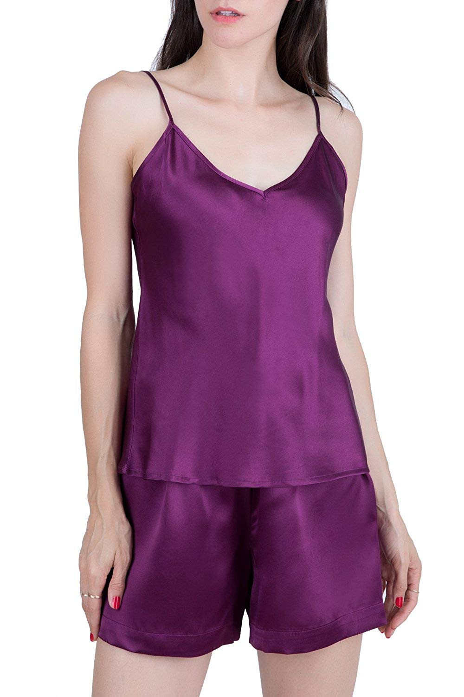 829c6dda46 Get Quotations · OSCAR ROSSA Women s Luxury Silk Sleepwear 100% Silk  Camisole and Shorts Babydoll Lingerie Pajama Set