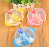 Newest Customized Non-spill BPA Free Reusable Silicone Baby Sucker Feeding Bowl with Lid & Temperaturing Spoon for Baby Suction