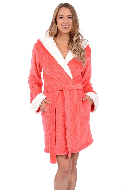 bfa0b785df Get Quotations · Body Candy Women s Plush Sherpa Micro Fleece Animal Ear  Hooded Bathrobe