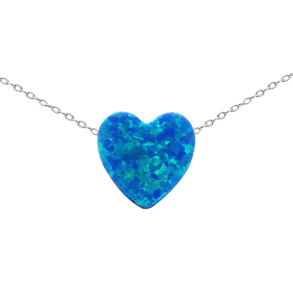 Multicolor 10mm Opal Heart Pendant Necklace 925 Sterling Silver Chain Necklace for Women Girls