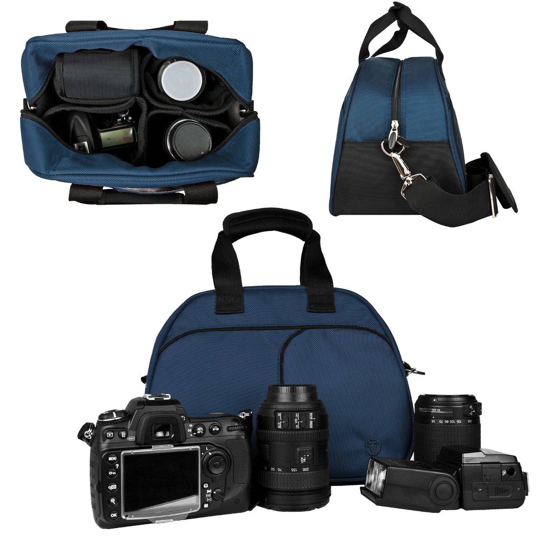 Vangoddy Mythra Blue Medium Entry Level Canon DSLR & SLR Camera Bag For: Canon EOS Rebel T3, T3i, 12.2 MP, 18 MP, Canon EOS Rebel T2i 18 MP CMOS APS-C, Canon EOS Rebel T1i 15.1 MP CMOS, Canon EOS 60D CMOS, Canon EOS 7D CMOS, Canon EOS 5D Mark II (Mark 2) Full Frame CMOS, Canon Rebel XS, Body Only,