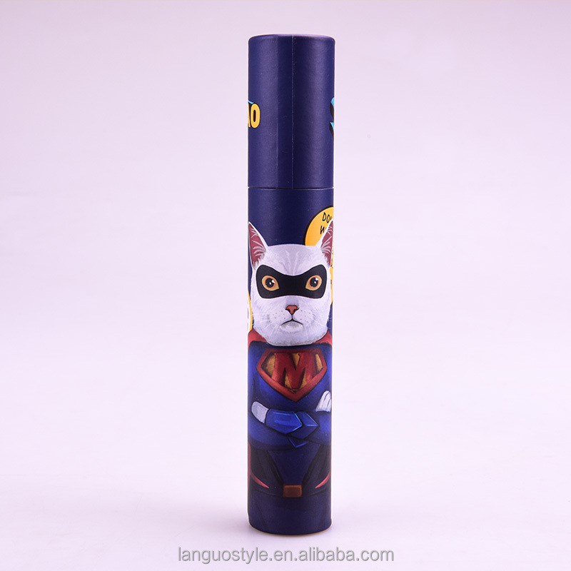 2016 Languo popular hero cat design high quality fashion colored pencils 12 pcs long